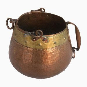 Vintage Spanish Patinated Copper Pot, 1970s