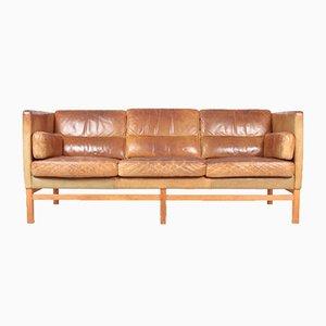Sofa aus patiniertem Leder von Illum Wikkelsø, 1960er