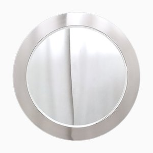 Round Wall Mirror with Mirrored Steel Frame, Italy, 1970s