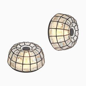 Deckenlampe aus Eisen & Klarglas von Glashütte Limburg, 1960er