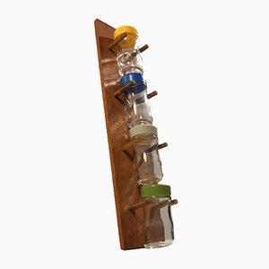 Especiero de pared de teca de Lüthje Denmark, años 60.Juego de 5