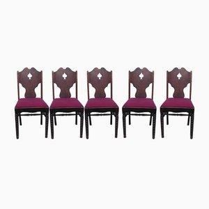 Chaises en Chêne avec Panneaux Pique, 1940s, Set de 5
