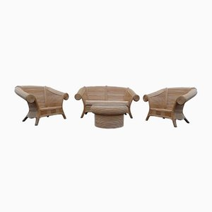 Rattan Lounge Chairs in the Style of Gabriella Crespi, 1970s, Set of 4