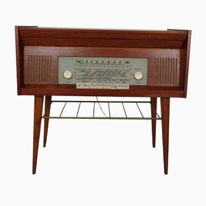 Teak Sideboard with Radio and Record Player from Loewe Opta, 1960s