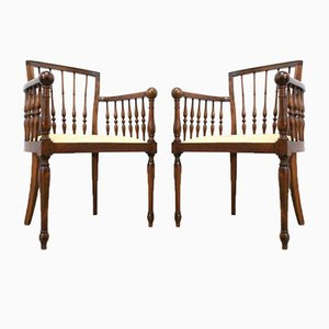 Antique French Decorative Bentwood Occasional Chairs, Set of 2