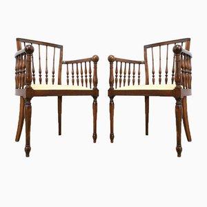 Chaises Décoratives Antiques en Bois Courbé, Set de 2
