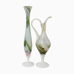 Mid-Century French Opaline Vase Ewer and Soliflor Set