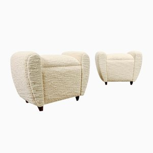 French Footstools or Poufs in Pierre Frey Boucle Fabric, 1970s, Set of 2