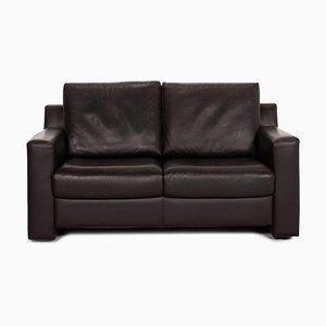 Flex Plus Leather 2-Seat Sofa in Dark Brown from Ewald Schillig