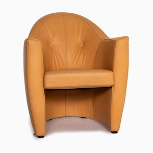 Leather Armchair in Yellow Ocher Brown from Leolux