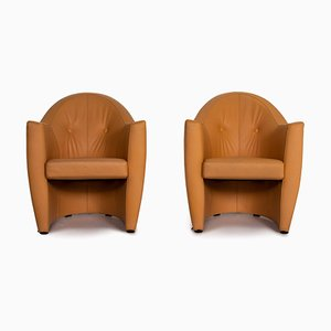 Leather Armchair Set in Yellow Ocher Brown from Leolux, Set of 2