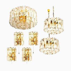Palazzo Gilt Brass and Glass Wall Lights by J.T. Kalmar, Set of 7
