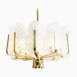 Large Brass Chandelier with Glass Leaves by Carl Fagerlund for orrefors, 1960s