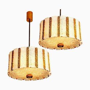 Gold-Plated Bronze Drum Light Fixtures, 1960s, Set of 2