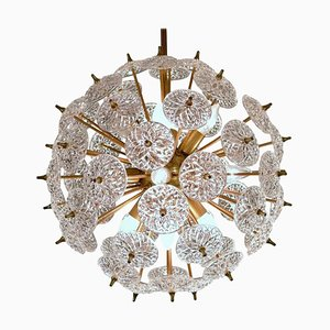 Sputnik Crystal Disc Chandelier In the Style of Emil Stejnar
