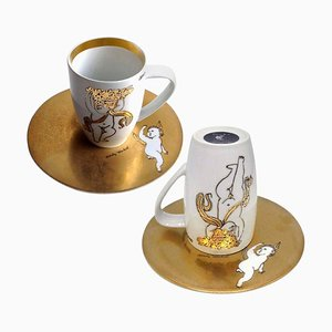 Golden Angels Latte Macchiato Cup Saucers by Andy Warhol for Rosenthal, 1980s, Set of 2