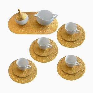 Coffee Dessert Service Set in 24-karat Porcelain by Bjorn Wiinblad for Rosenthal, 1980s