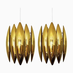 Kastor Brass Pendants by Jo Hammerborg for Fog & Morup, 1960s, Set of 2