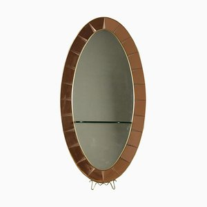 Mirror in Wood, Glass & Brass from Cristal Art, 1950s