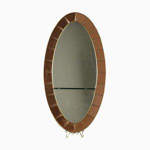 Specchio in legno, vetro ed ottone di Cristal Art, anni '50