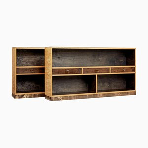Mid-Century Scandinavian Low Open Bookcases, Set of 2