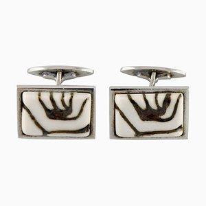 Gemelos Royal Copenhagen de plata y porcelana, años 60. Juego de 2