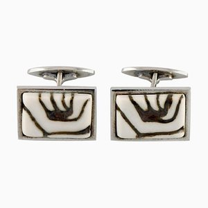 Royal Copenhagen Cufflinks in Sterling Silver and Porcelain, 1960s, Set of 2