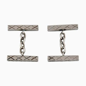 Boutons de Manchette Modernistes en Argent Sterling par Willy Kromar, Danemark, Set de 2