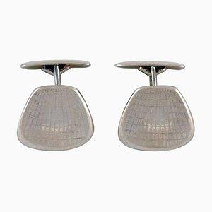 Moderne dänische Manschettenknöpfe aus Silber in Silber, 1960er, 2er Set
