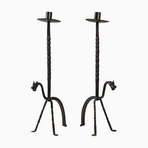Wrought Iron Candleholders, 20th-Century, Set of 2