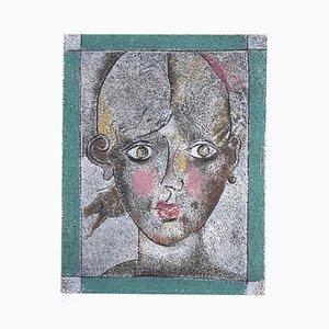 Franco Gentilini, Porträt einer Frau, Lithografie, spätes 20. Jahrhundert