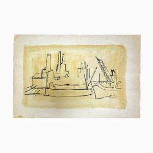 Herta Hausmann, Der Hafen, Zeichnung in Feder, 1930er Jahre