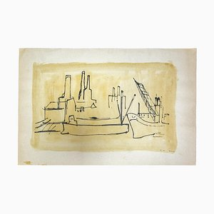 Herta Hausmann, The Port, Drawing in Pen, 1930er