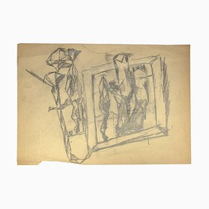 Leon Aubert, Figures, Pencil Drawing, Early 20th Century