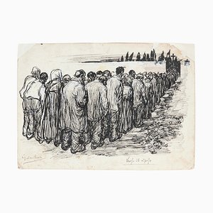 Gabriele Galantara, Toward Rest, Pen Drawing, Early 20th Century