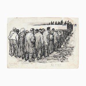 Gabriele Galantara, Zur Ruhe, Federzeichnung, Frühes 20. Jahrhundert