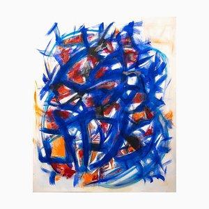 Felpa Giorgio Lo Fermo, blu e arancione, olio su tela, 2020