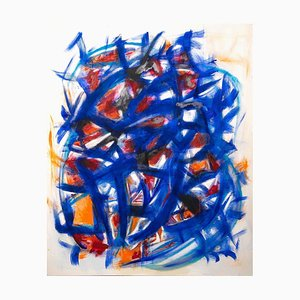 Giorgio Lo Fermo, Spiel in Blau & Orange, Öl auf Leinwand, 2020