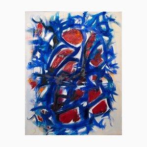 Giorgio Lo Fermo, Blaue abstrakte Komposition, Öl auf Leinwand, 2020
