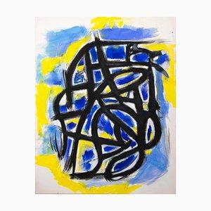 Giorgio Lo Fermo, gelber Abdruck, Öl auf Leinwand, 2020