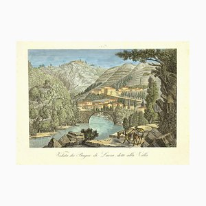 Unknown, View of Bagni Di Lucca, Called the Villa, Etching, 19th Century