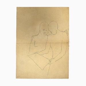 Inconnu, Figures, Crayon sur papier, 1930