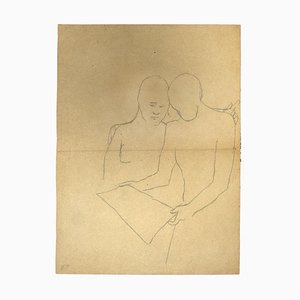 Unknown, Figures, Pencil on Paper, 1930s