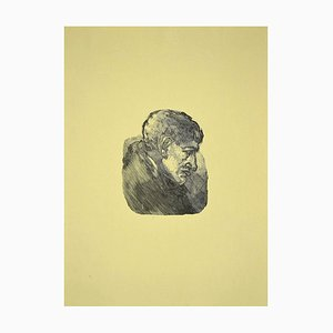 Mino Maccari, Portrait of Giorgio Morandi, Woodcut Print, 1950s