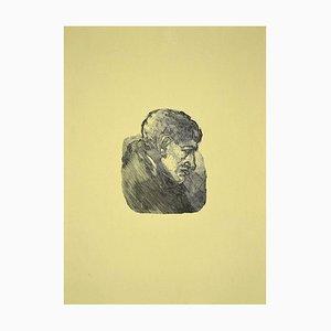Stampa Mino Maccari, ritratto di Giorgio Morandi, incisione xilografia, anni '50
