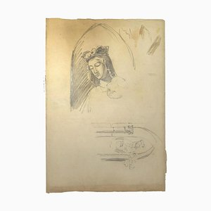 Unknown, Madonna, Pencil on Paper, 19th Century