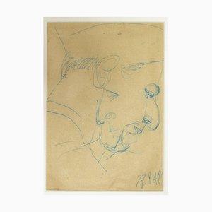 Inconnu, Portrait, Crayon bleu sur papier, 1948