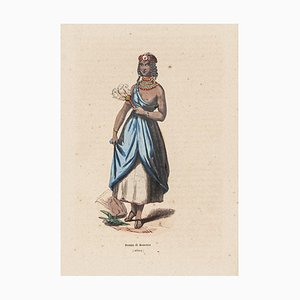 Unknown, Woman from Bournou, Lithograph on Paper, 19th Century