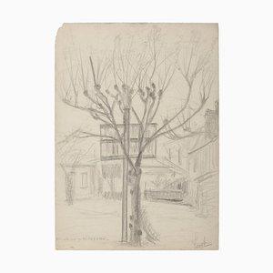 Inconnu, arbre et maison, crayon sur papier, 19e siècle