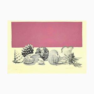Litografia Raffaello Piraino, natura morta, anni '70